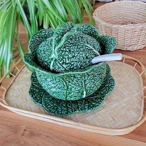 Vintage cabbage tureen + ladel & plate
